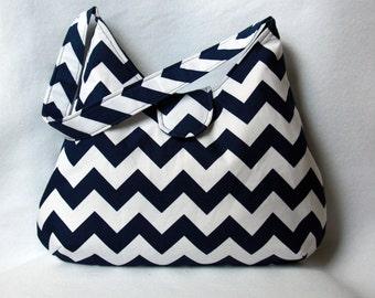 Chevron Hobo Bag - Navy Blue and White Chevron Purse