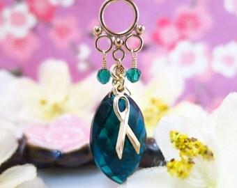 Cervical cancer teal blue quartz marquis gold necklace, teal quartz cervical cancer survivor gold filled necklace
