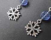 Snowflake earrings- tanzanite glass