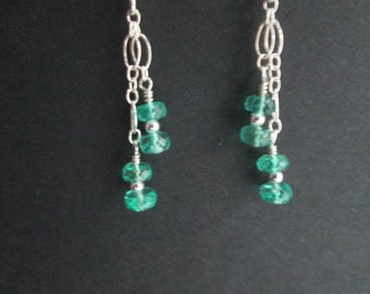May birthstone emerald sterling silver dangle earrings- AAA quality genuine emerald