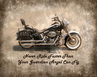 Never Ride Faster Than Your Guardian Angel Can Fly - Harley Davidson Photo Vintage Style Original Photograph - Man Cave Wall Decor