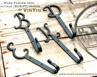 SET OF 2 Hand Forged Iron Initials (SCRIPT) Hooks by VinTin