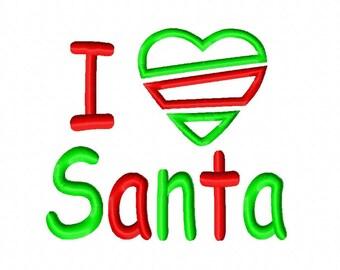 I Heart Santa Applique Embroidery Design 4x4 5x7 6x10 Christmas Love INSTANT DOWNLOAD