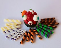 Halloween candy sticks (20 pcs) /Colorful straws combination Faux Candy Cupcake Topping Miniature Sweets Deco Deco-den