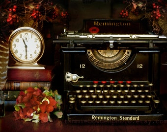 Photography - The Study -  Photograph - Vintage Antique Remington Typewriter Library Bibliophile Geekery Office Den Study Masculine