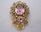 Vintage Brass Amethyst Glass Dress Clip
