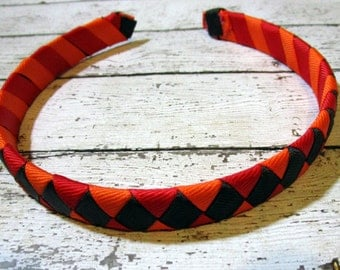 Headband, Wrapped Headband, Ribbon Wrapped Headband, Brown Headband, Red Headband, Orange Headband, Hard Headband, Custom Headband