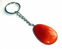 Orange Carnelian Key Chain Charm Gemstone Keychain