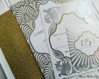 Silver-Gold Great Gatsby Wedding Invitations-Sparkly Glitter