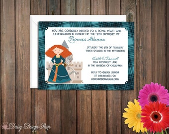 Birthday Party Invitations - Brave Scottish Princess and Tartan Background - Set of 20 with Envelopes