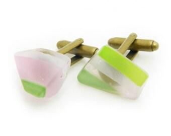 Handmade Glass cufflinks sou025