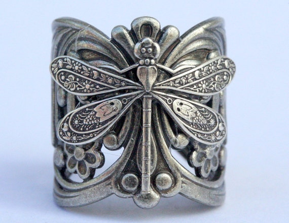 Steampunk Filigree Dragonfly Ring