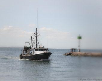 Headed Home - COASTAL Photography - FALMOUTH, Cape Cod Print, Travel Art, New England Photography, Fishing Lobster Boat, Atlantic, Ocean