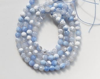 6mm  Blue fire agate, faceted  round gemstone beads, FULL STRAND