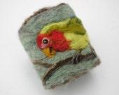 Lovebird Felt Cuff Needlefelt Design Wearable Art Bracelet