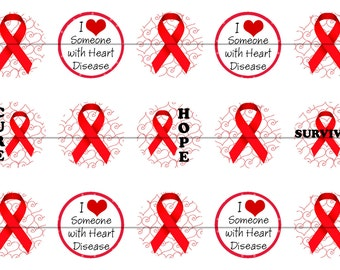 RED RIBBON HEART disease awareness Precut 1 inch bottle cap images
