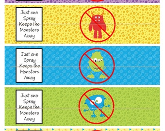 Monster Spray water bottle birthday party labels