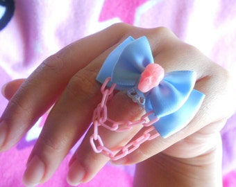 Sweet creepy lolita skull ring blue