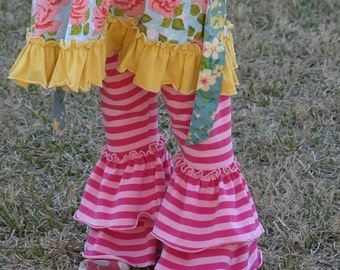 bright pink and light pink stripe knit leggings with double ruffles sizes 12m - 14 girls