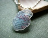 Beach Sea Glass Pendant with Vintage Irish Map -- Bantry Mizen West County Cork -- Handmade in Ireland