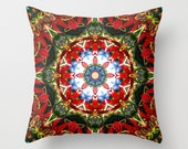 Red lily, blue sky and evergreen mandala throw pillow cover, flower, martagon lily, garden, floral decor, ornamental, red, gold