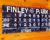 large modern nursery art- personalized triptych painting- name monogram initials- vintage scoreboard  football baseball - navy blue