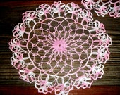 TATTED DOILIE SET, Beautiful & Delicate Pink and White Doilies, Fine Dainty Style, 2 Round 1 Oval, Romantic Home