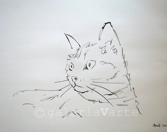 Original ink drawing - Cat - europeanstreetteam