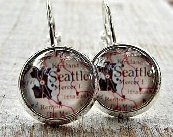 SALE. Seattle, USA dangle earrings. Map and glass cabochon picture earrings. Picture earrings