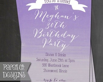 Printable Purple Ombre Birthday Invite - Digital File ONLY