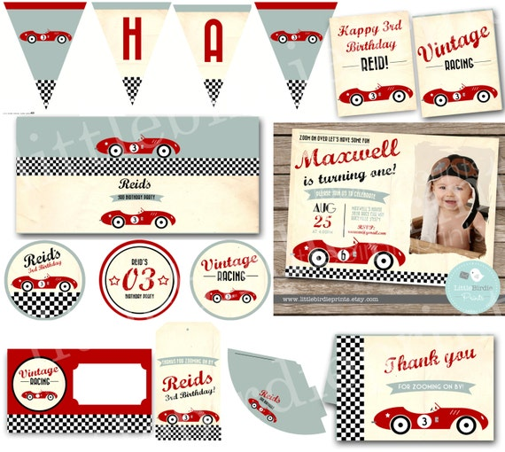 vintage race car invitation birthday party classic car retro, Birthday invitations