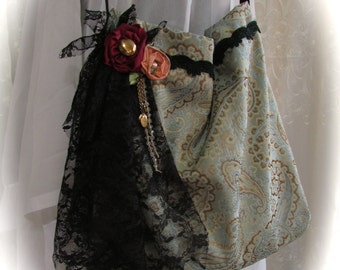 Handmade Fabric Bag, silk paisley fabric, black lace embellished, fabric rose flowers, slouchy boho purse, unique bag, ooak bag