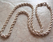 """Sterling Rope Chain 24"""" Inch 5mm End Caps Vintage CW0087"""