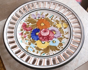 Ceramic Floral Plate Lattice Edge Hanging Cutout Vintage