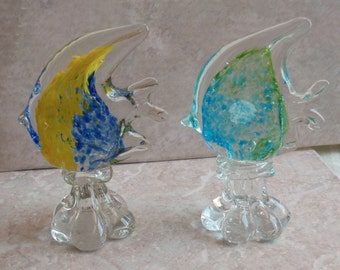Angelfish Glass Sculptures Set of Two Hand Blown Glass Ocean Fish Aqua Blue Yellow Vintage