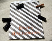 Happy Halloween Treat Bags - Black and White Stripes with Copper Foil