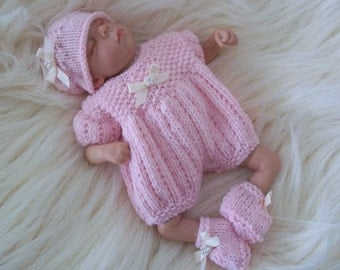 "Dolls Knitting Pattern - Lil Pumpkin Romper Hat & Bootees for 8-10"" Reborn Baby Doll Download PDF Knitting Pattern"