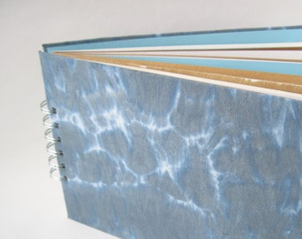 A5 Journal Sketchbook, mixed paper pages, slate grey hand dyed covers