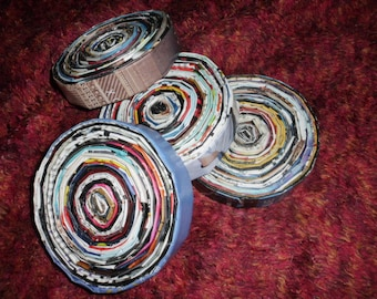 4 Upcycled Recycled Magazine Coiled Coasters OOAK Home decor