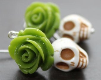 Green Rose and White Sugar Skulls earrings