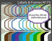 Labels and Frames Digital Clip Art Kit PNG file Instant Download for invites, journaling, scrapbooking N173