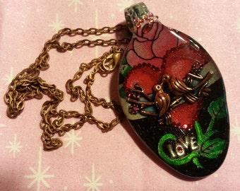 Love Bird Pendant, Resin spoon pendant,  spoon jewelry, Spoon pendant, Spoon art, Resin Jewelry, Spoon Necklace