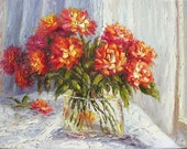 ORIGINAL Oil Painting Fire Love 23 x 30 Palette Knife Colorful Red Field Modern Home Decor Flowers Vase Bouquet Textured  ART by Marchella