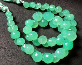 Chrysoprase Beads/ Onion Briolette/ AAA Chrysoprase/ Faceted Beads/ 5mm To 8mm Beads/ 32Pieces/ 4.5 Inch Half Strand