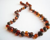 Baroque Dark Multicolor   Baltic  Amber  Baby  Teething  Necklace . Handmade knotted.