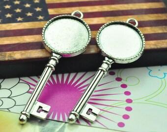 Cabochon base setting 5pc antique silver Key flower frame charms pendants 62x22mm