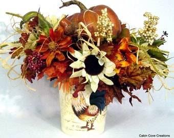 Fall French Country Rustic Rooster Pumpkin Floral Arrangement Centerpiece Tuscan silk custom Ready to Ship  by Cabin Cove Creations