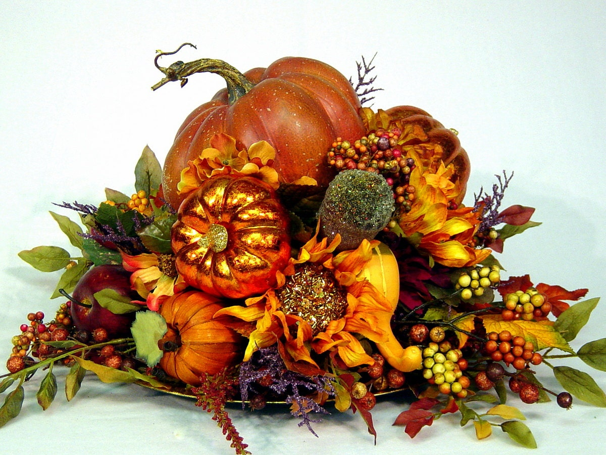 Bountiful harvest country pumpkin fall centerpiece custom silk