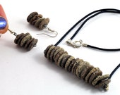 Ceramic Beaded Bar Necklace and Earring Jewellery Set Organic Brown Handmade Pottery