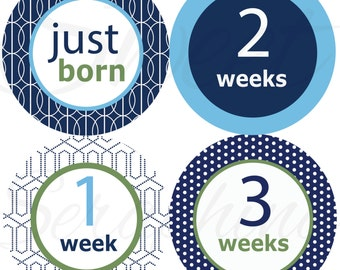 Monthly Stickers for Boys - Green and Blue - Just Born to 3 Weeks - Milestone Stickers Boy Stickers Boy Stickers Baby Shower Gift